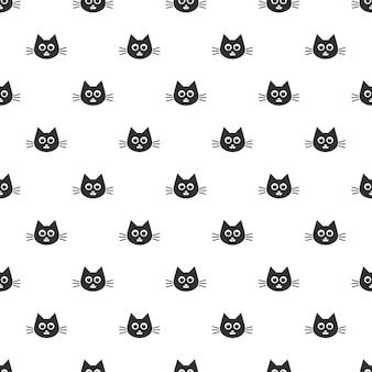 Padrão com lindas cabeças de gato preto