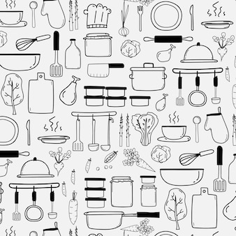 Padrão com linha mão desenhada doodle cozinhar