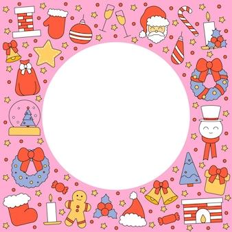 Padrão com lugar para texto com símbolos de natal e feliz ano novo. no estilo tradicional vintage para cartão postal, tecido, banner, modelo de parabéns, papel de embrulho. plano de vetor.