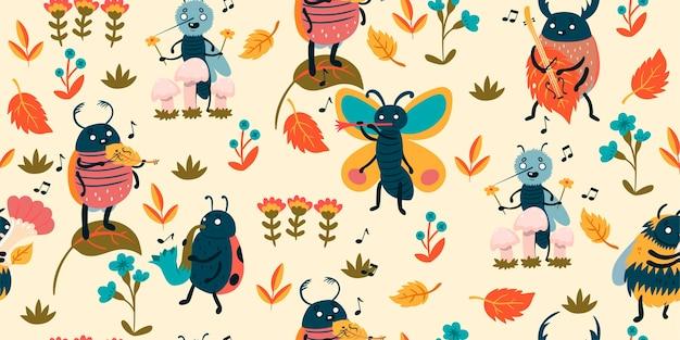 Padrão com músicos de insetos bonitos.