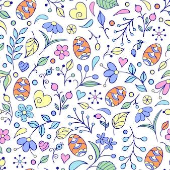 Padrão com ovos de páscoa, flores, folhas