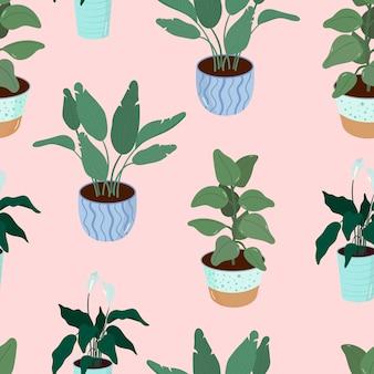 Padrão com plantas de interior em vaso, planta de casa, palma, ilustração em vetor banana ficus em estilo simples