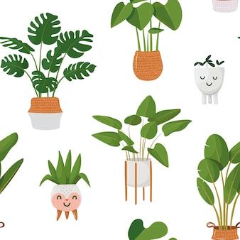 Padrão com plantas de interior em vasos vasos de flores kawaii