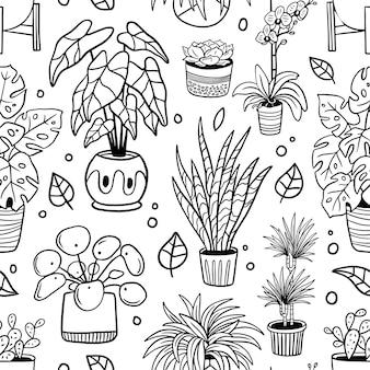 Padrão com plantas e flores desenhadas à mão
