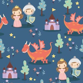 Padrão com príncipe, princesa, dragão e flor