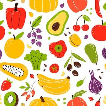 Padrão com produtos alimentos saudáveis frutas, vegetais e nozes