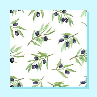 Padrão com ramos de oliveira aquarela ramo de oliveira com frutas