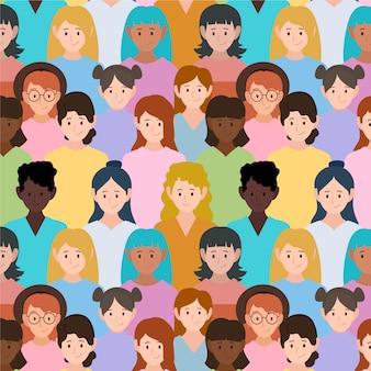 Padrão com rostos de mulheres para evento