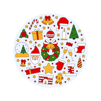 Padrão com símbolos de natal e feliz ano novo. no estilo tradicional vintage para cartão postal, tecido, banner, modelo de parabéns, papel de embrulho. ilustração em vetor plana.
