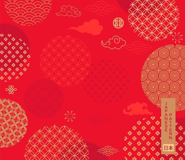 Padrão com tema japonês em fundo vermelho