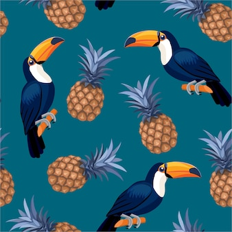 Padrão com tucanos e abacaxis. padrão sem emenda.