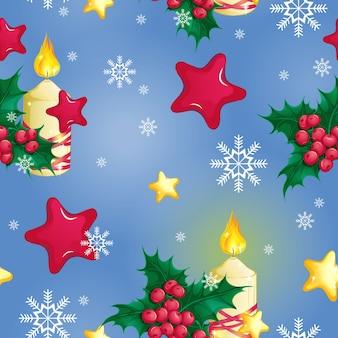 Padrão com vela acesa, ouro de natal e estrelas vermelhas