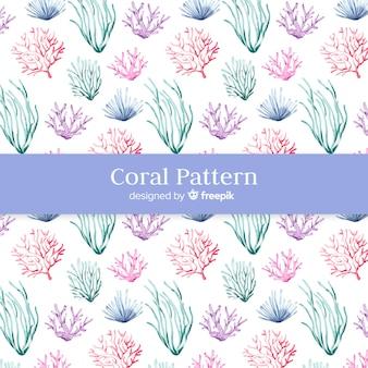 Padrão coral aquarela