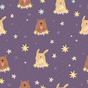 Padrão cósmico com ursinho de pelúcia e constelações de lebre