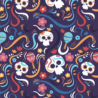 Padrão criativo de día de muertos