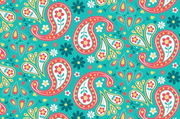 Padrão criativo de paisley com elementos coloridos