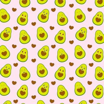 Padrão de abacate bonito com coração