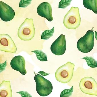 Padrão de abacate em aquarela