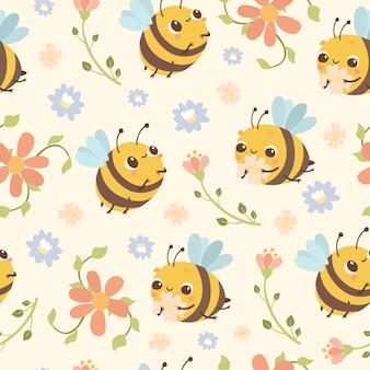 Padrão de abelha e flores