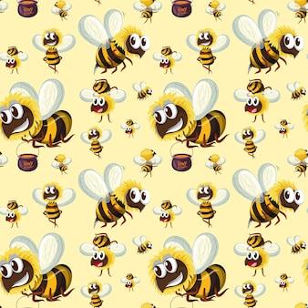 Padrão de abelha sem costura bumble