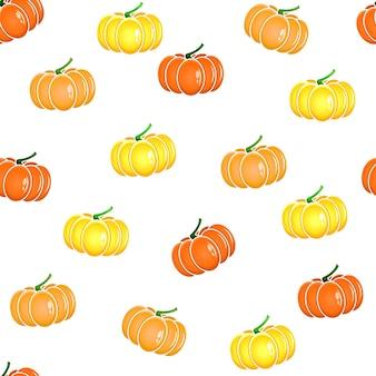 Padrão de abóbora, abóbora em um fundo branco, contorno de abóbora, abóbora de halloween isolada, abóboras volumétricas multicoloridas. ilustração vetorial