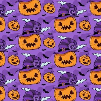 Padrão de abóboras bonitas de halloween desenhado à mão