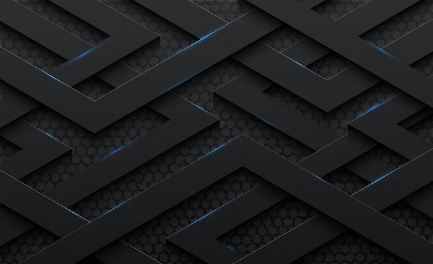 Padrão de aço abstrato 3d fundo preto
