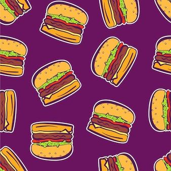 Padrão de adesivos de hambúrguer brilhantes de desenho animado