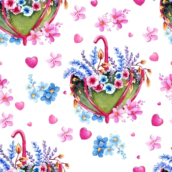 Padrão de aguarela com flores, guarda-chuvas e corações