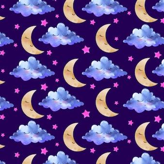 Padrão de aguarela com lua e nuvens
