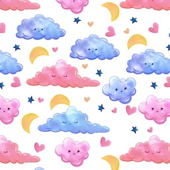 Padrão de aguarela com nuvens lua e estrelas