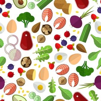 Padrão de alimentação saudável. pepino de batata, beterraba e ovos, nozes e peixes