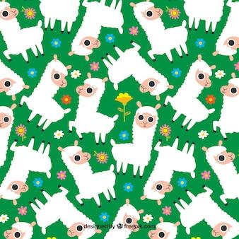 Padrão de alpaca bonito com plantas