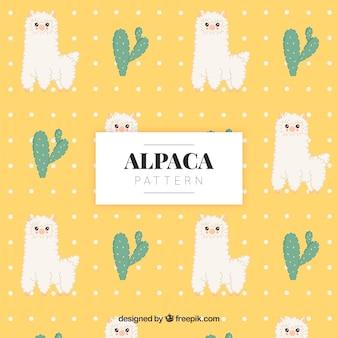 Padrão de alpacas bonito com a natureza