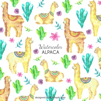 Padrão de alpacas bonito com plantas