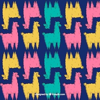 Padrão de alpacas bonito em cores diferentes