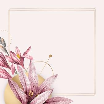 Padrão de amarílis rosa com moldura dourada