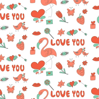Padrão de amor de elementos do dia dos namorados rosa turquesa vermelho cinza
