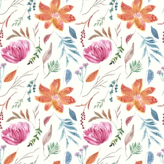 Padrão de amostras vintage de aquarela floral brilhante