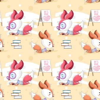 Padrão de animais com livro de leitura de raposa