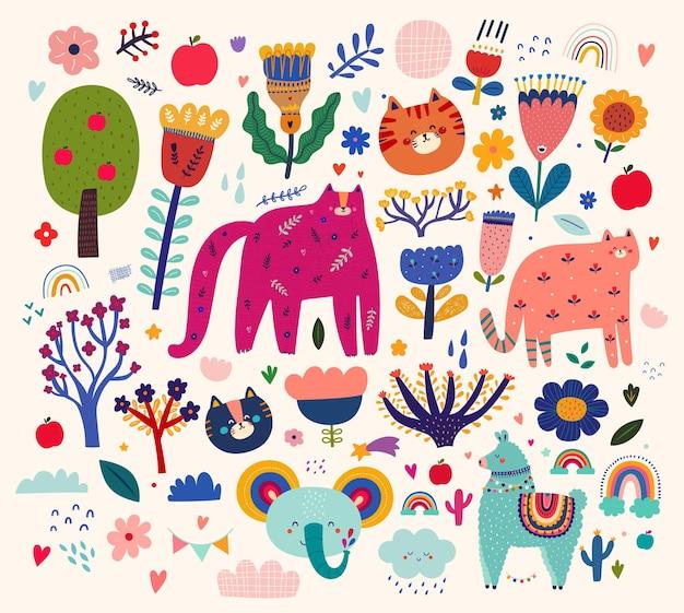 Padrão de animais do bebê. ilustração vetorial com animais fofos. ilustração de padrão de bebê de berçário
