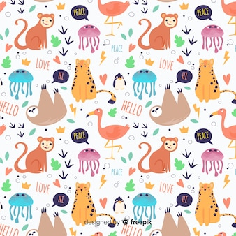 Padrão de animais e palavras de doodle engraçado