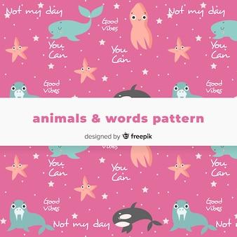 Padrão de animais e palavras desenhadas de mão