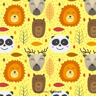Padrão de animais sorridente doodle colorido
