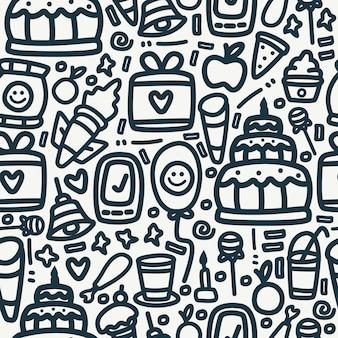 Padrão de aniversário design doodle