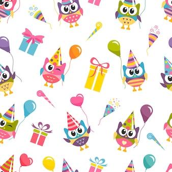 Padrão de aniversário sem costura com lindas corujas coloridas