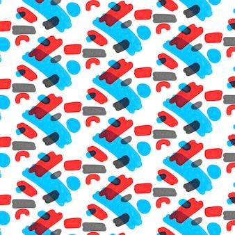 Padrão de aquarela abstrato vermelho e azul