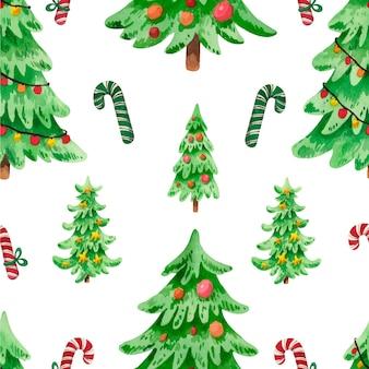 Padrão de aquarela árvore de natal com doces