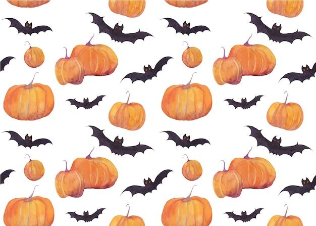 Padrão de aquarela de halloween com abóboras e morcegos