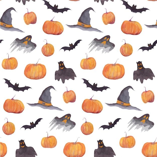 Padrão de aquarela de halloween com abóboras